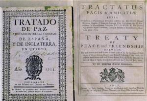 Het verdrag van de Vrede van Utrecht (1713). In twee talen.